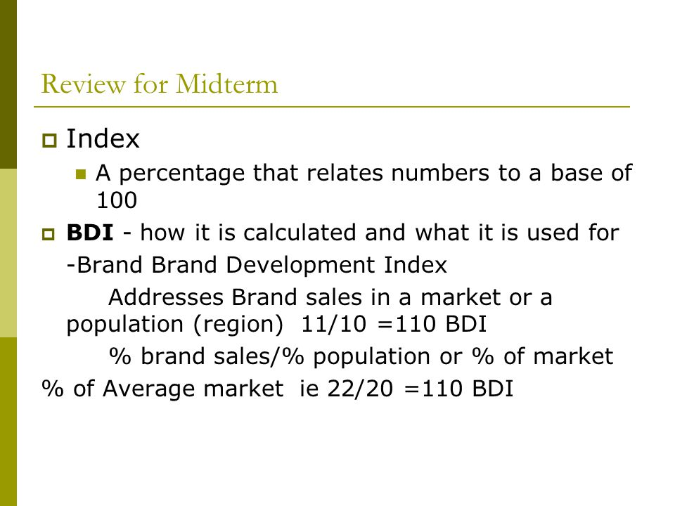 Review for Midterm Index
