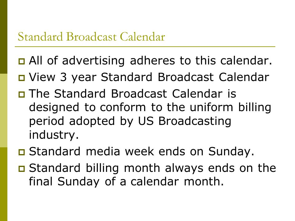 Standard Broadcast Calendar