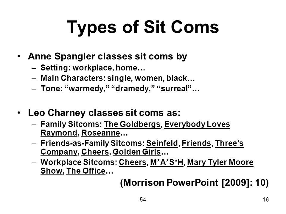 Types of Sit Coms Anne Spangler classes sit coms by