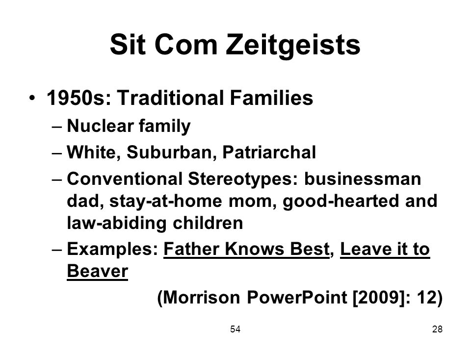 Sit Com Zeitgeists 1950s: Traditional Families Nuclear family