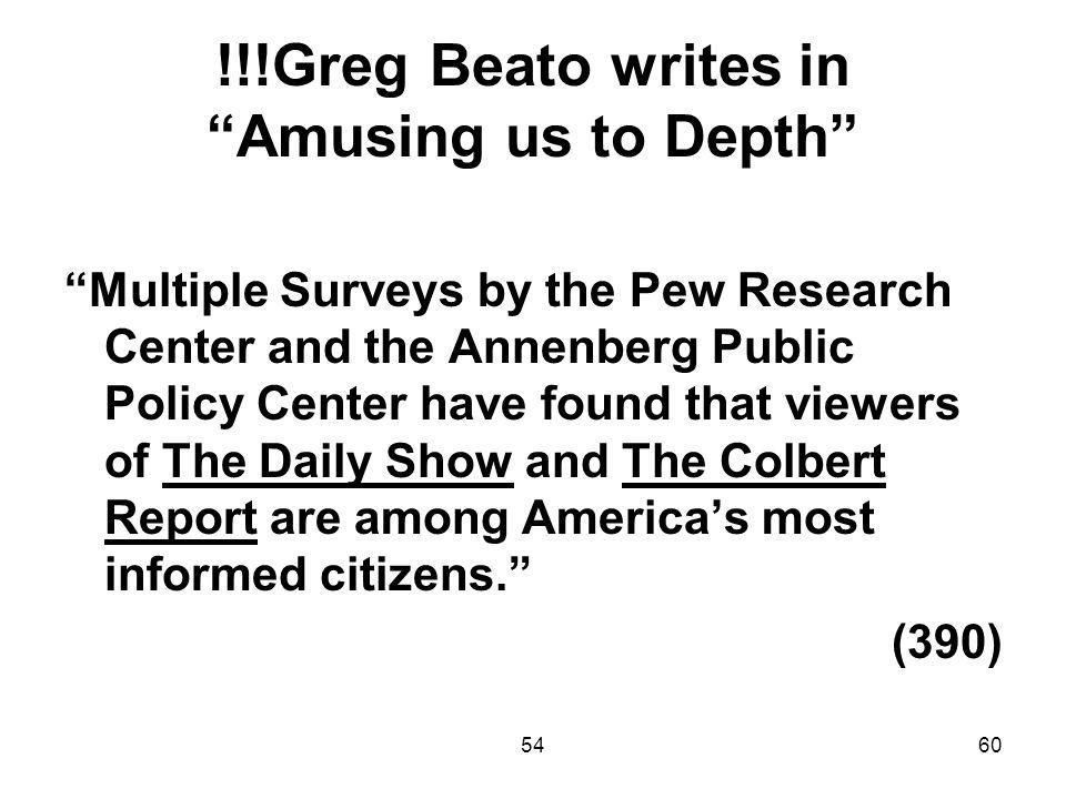 !!!Greg Beato writes in Amusing us to Depth