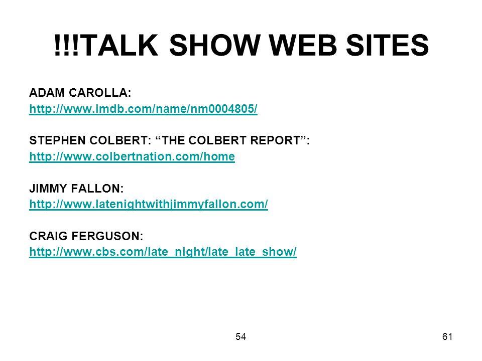 !!!TALK SHOW WEB SITES ADAM CAROLLA: