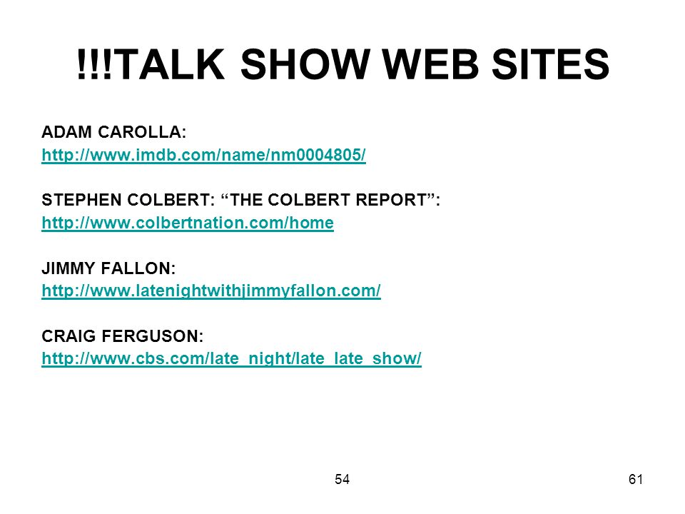 !!!TALK SHOW WEB SITES ADAM CAROLLA: