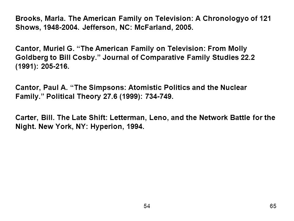Brooks, Marla. The American Family on Television: A Chronologyo of 121 Shows, Jefferson, NC: McFarland, Cantor, Muriel G. The American Family on Television: From Molly Goldberg to Bill Cosby. Journal of Comparative Family Studies 22.2 (1991): Cantor, Paul A. The Simpsons: Atomistic Politics and the Nuclear Family. Political Theory 27.6 (1999): Carter, Bill. The Late Shift: Letterman, Leno, and the Network Battle for the Night. New York, NY: Hyperion,
