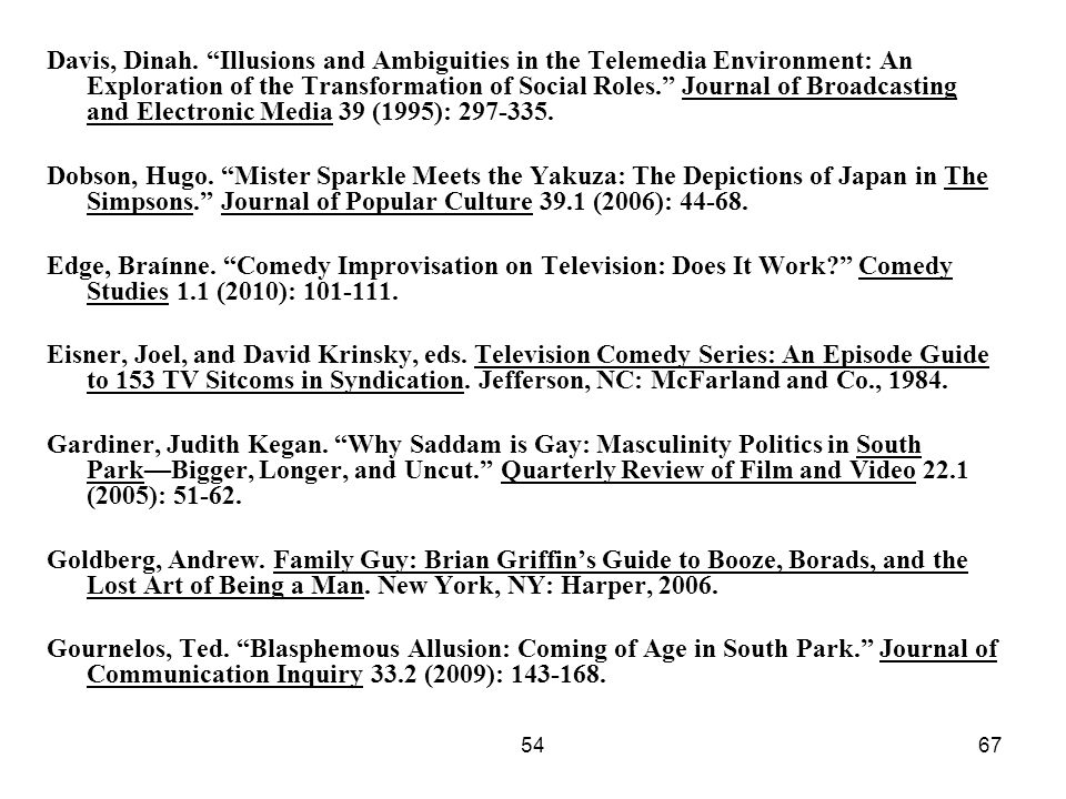 Davis, Dinah. Illusions and Ambiguities in the Telemedia Environment: An Exploration of the Transformation of Social Roles. Journal of Broadcasting and Electronic Media 39 (1995): 297-335.