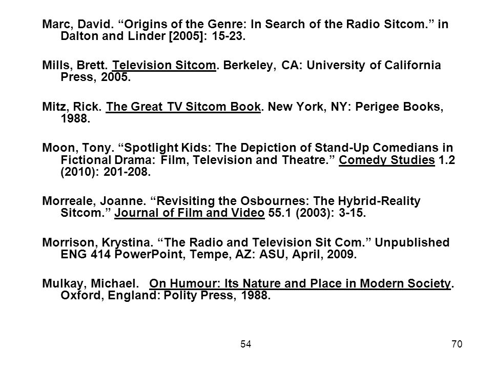 Marc, David. Origins of the Genre: In Search of the Radio Sitcom