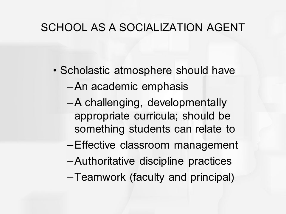 SCHOOL AS A SOCIALIZATION AGENT