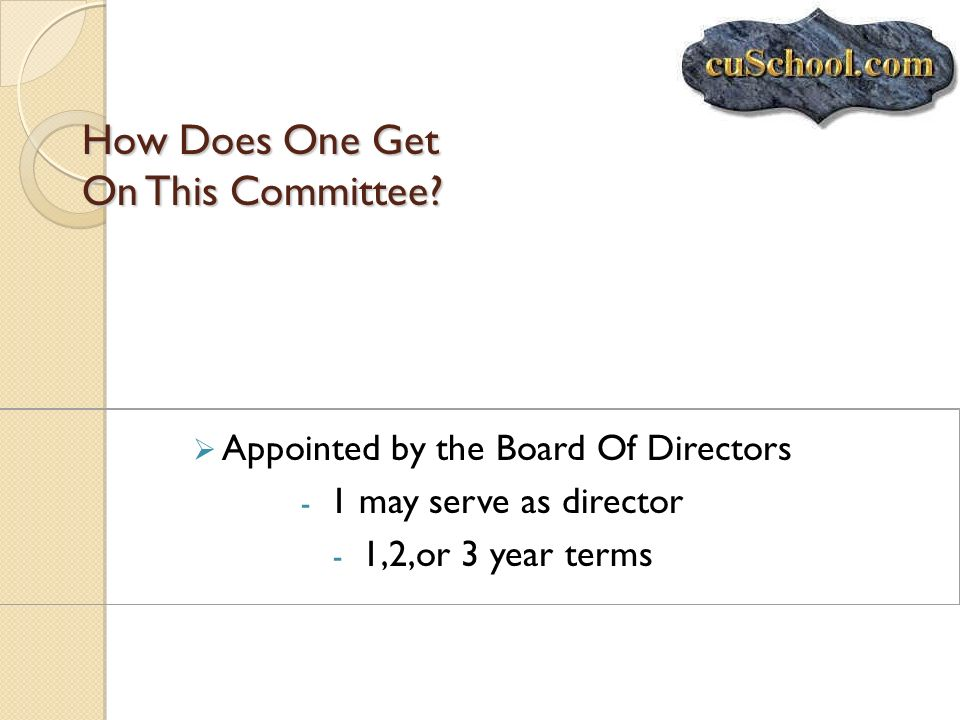 How Does One Get On This Committee