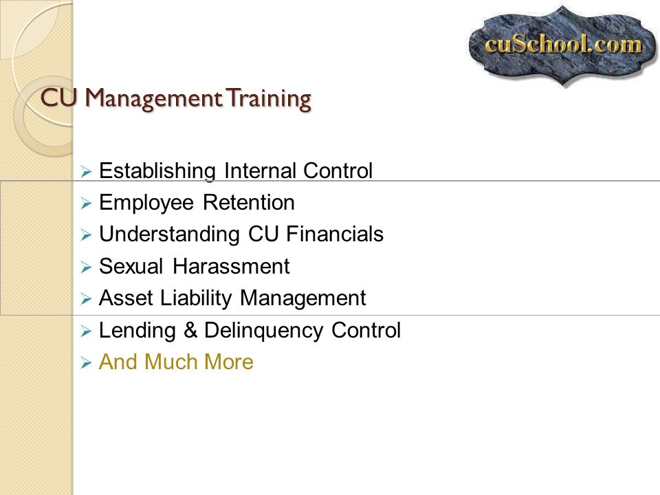 CU Management Training