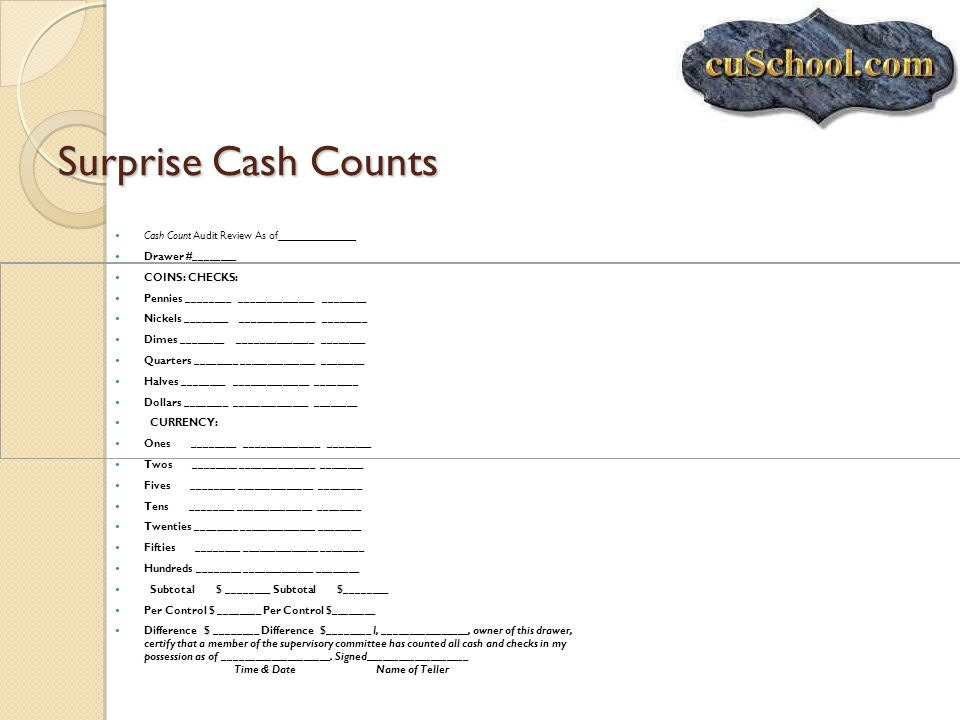 Surprise Cash Counts Cash Count Audit Review As of_____________