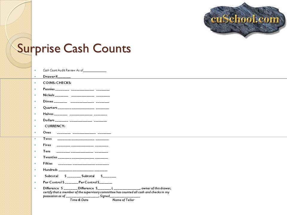 Surprise Cash Counts Cash Count Audit Review As of_____________