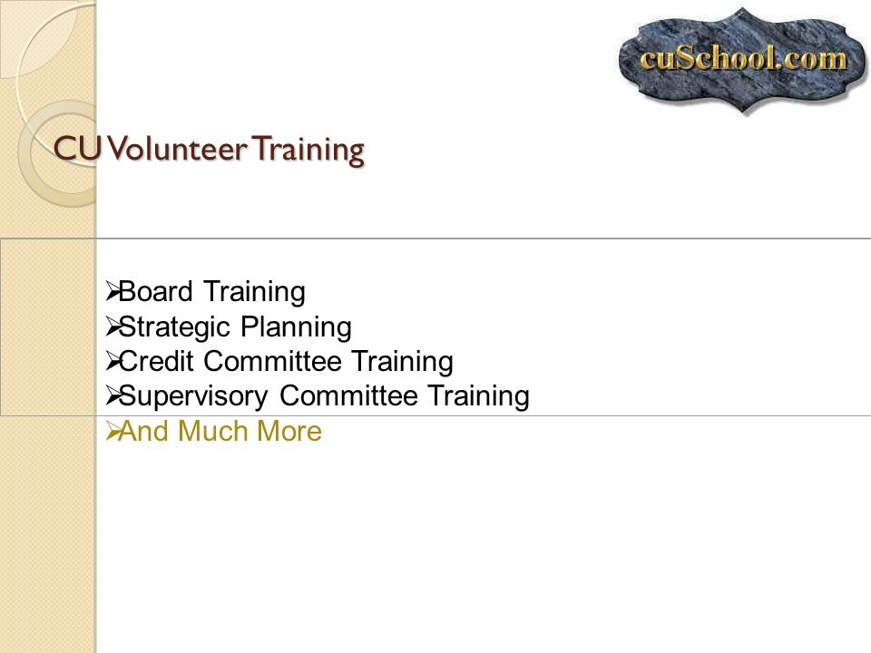 CU Volunteer Training Board Training Strategic Planning