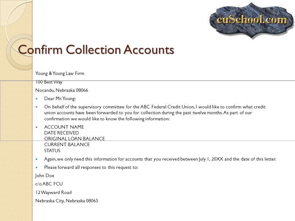 Confirm Collection Accounts