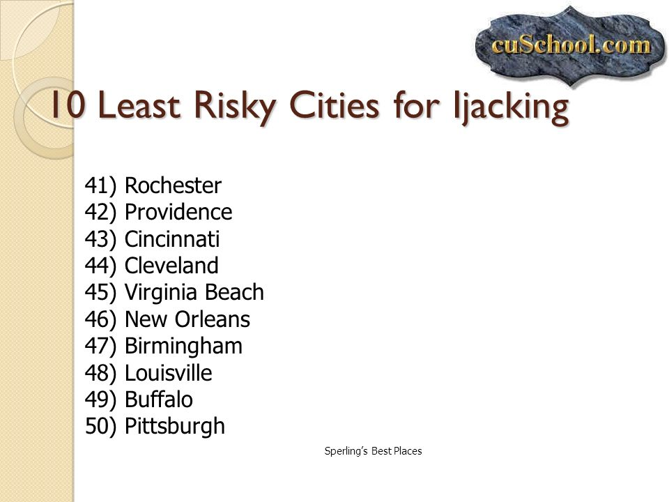 10 Least Risky Cities for Ijacking