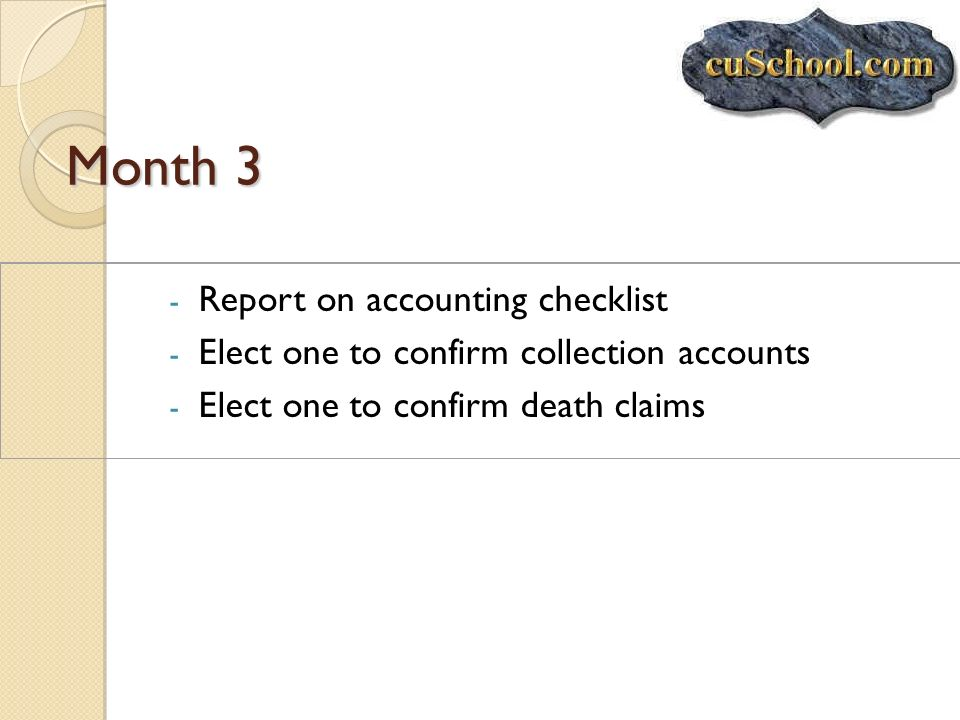 Month 3 Report on accounting checklist