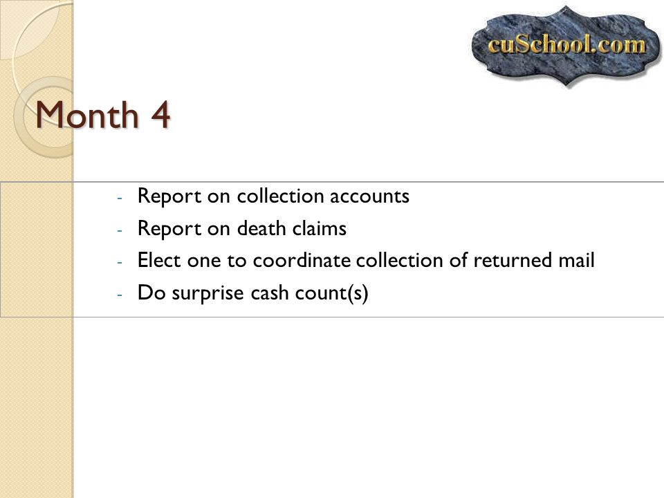 Month 4 Report on collection accounts Report on death claims