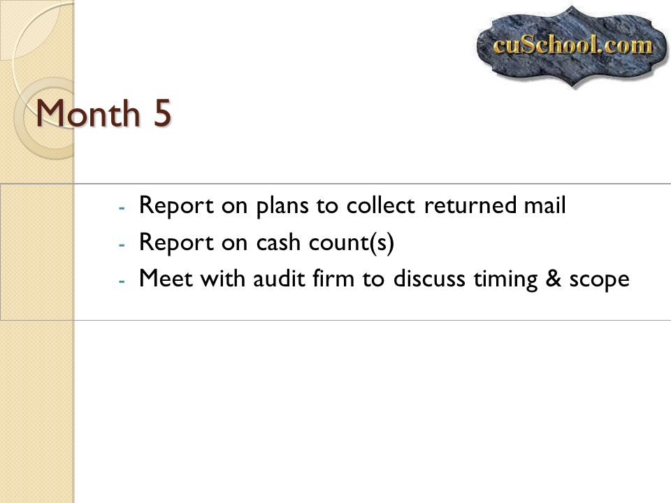 Month 5 Report on plans to collect returned mail