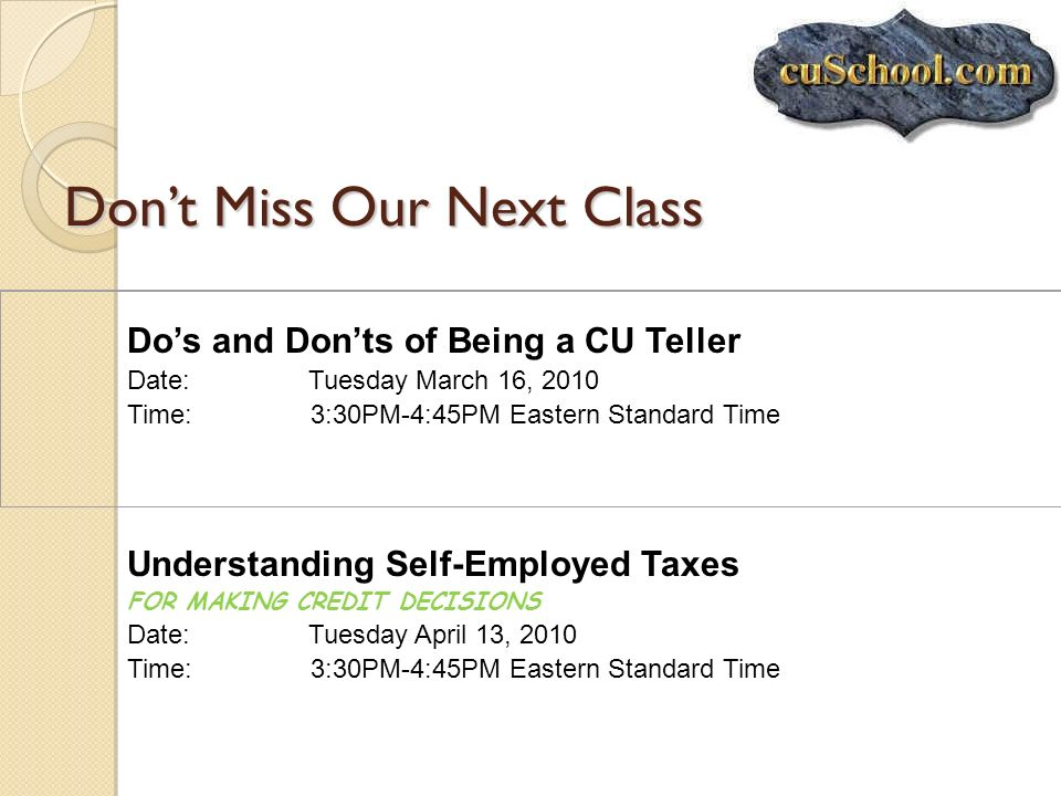Don't Miss Our Next Class