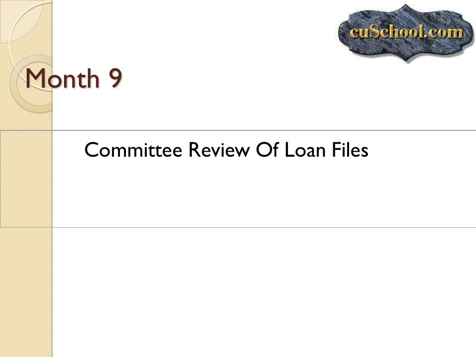 Month 9 Committee Review Of Loan Files
