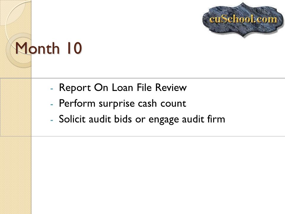 Month 10 Report On Loan File Review Perform surprise cash count