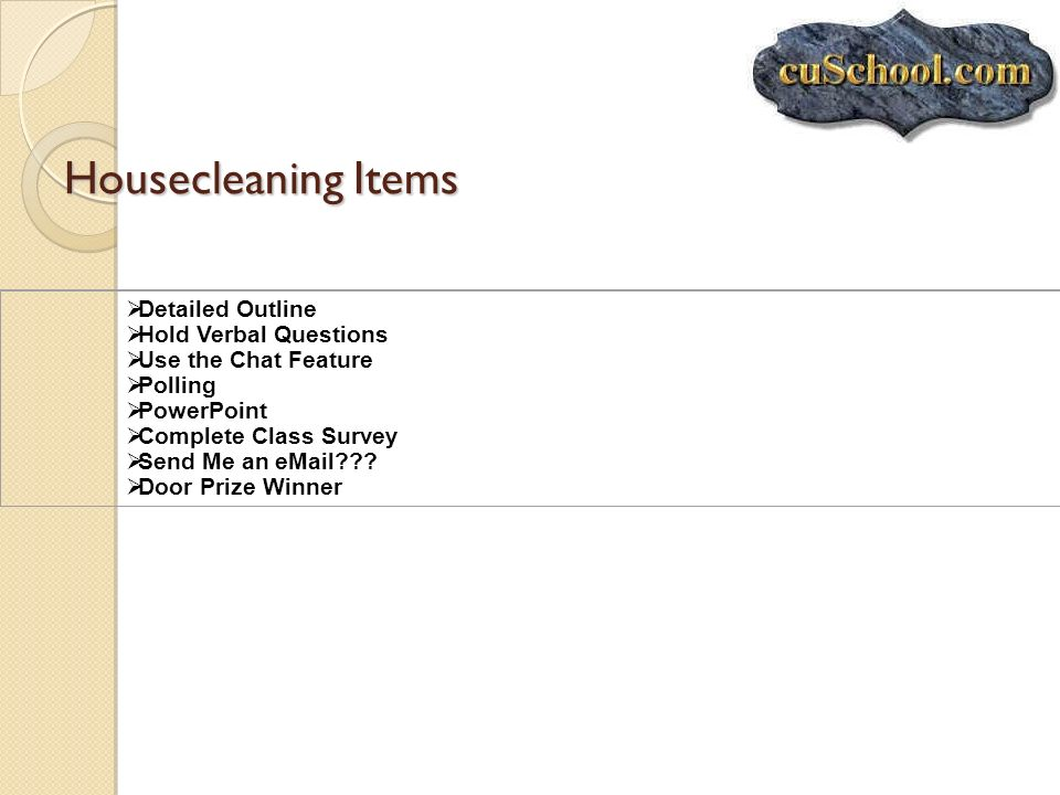 Housecleaning Items Detailed Outline Hold Verbal Questions