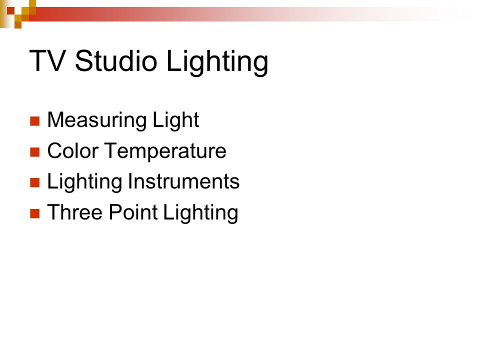 TV Studio Lighting Measuring Light Color Temperature