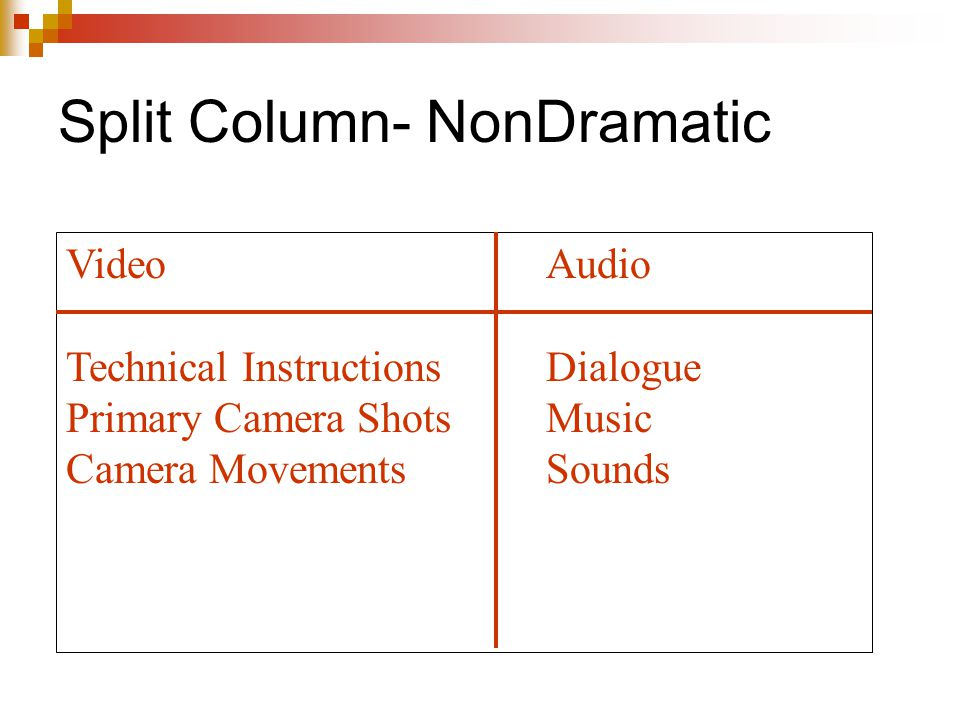Split Column- NonDramatic
