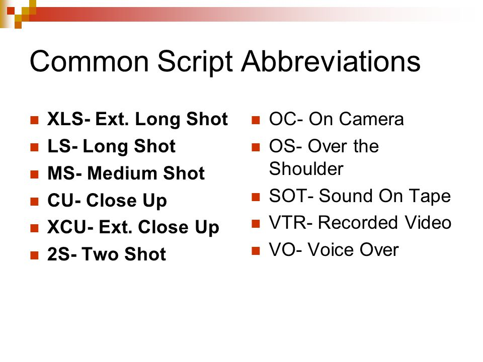 Common Script Abbreviations