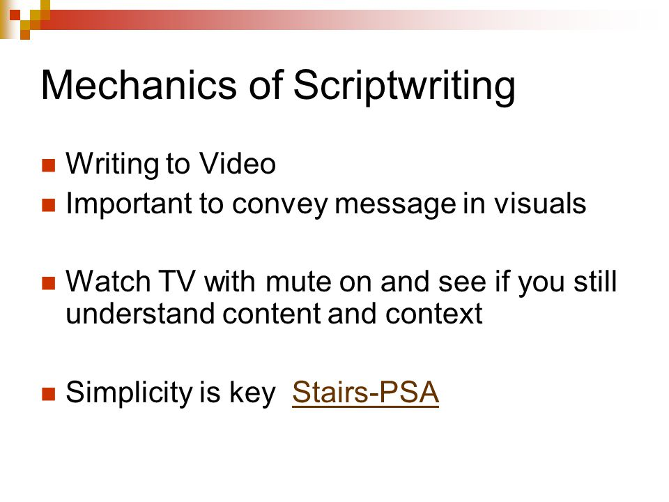 Mechanics of Scriptwriting