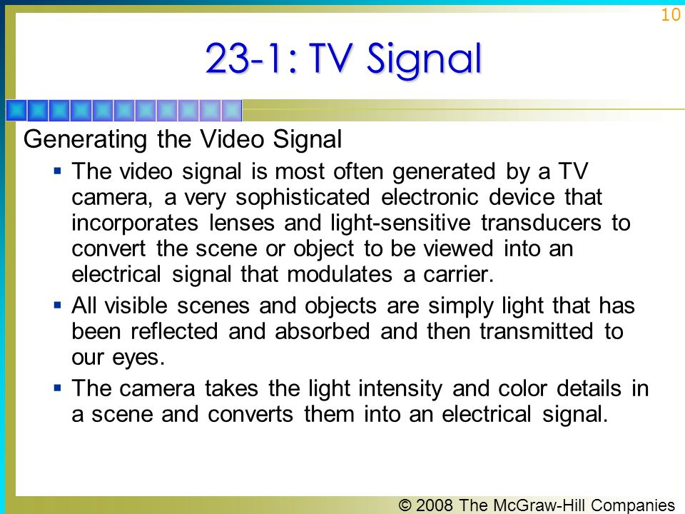 23-1: TV Signal Generating the Video Signal