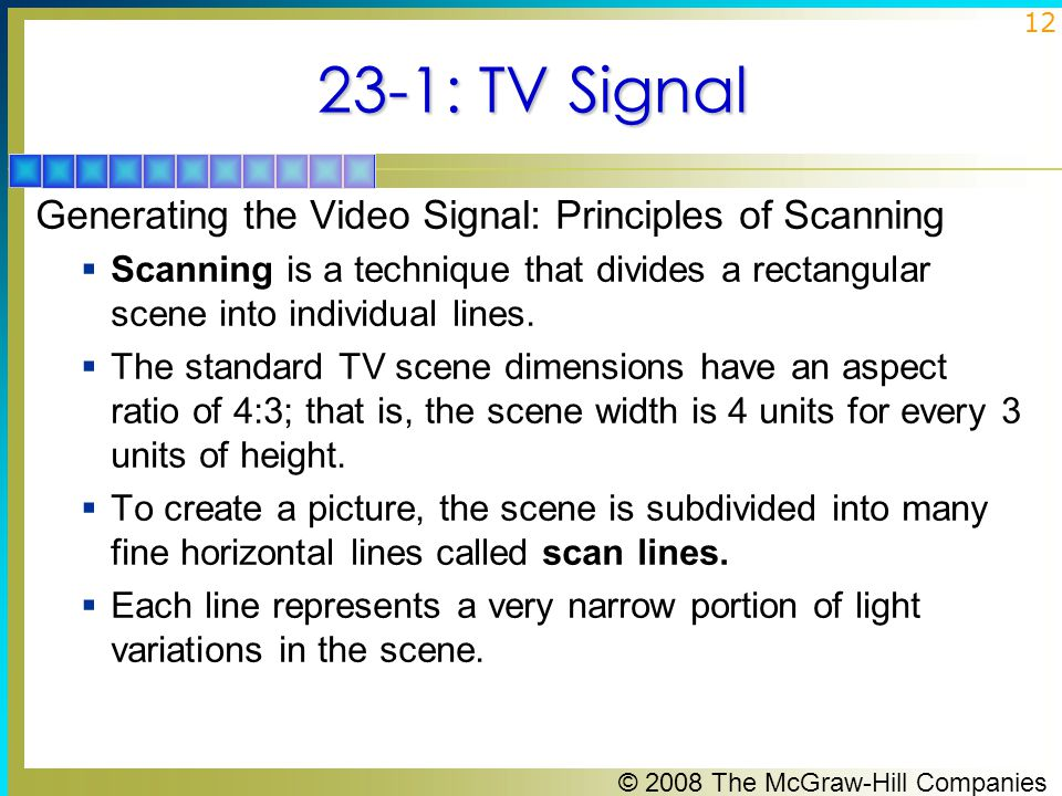 23-1: TV Signal Generating the Video Signal: Principles of Scanning
