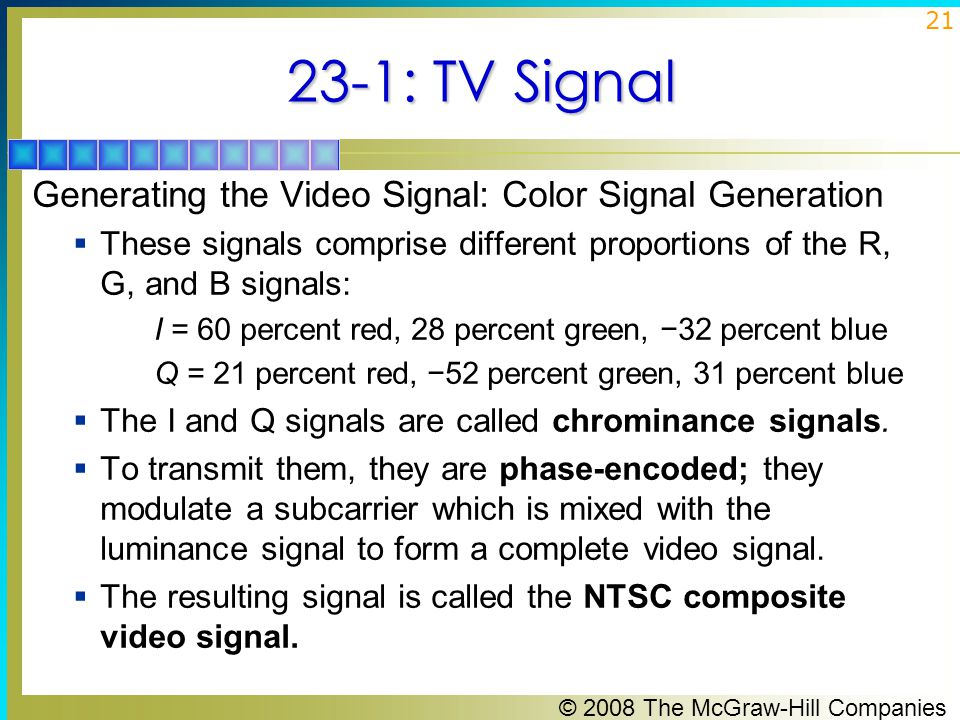 23-1: TV Signal Generating the Video Signal: Color Signal Generation