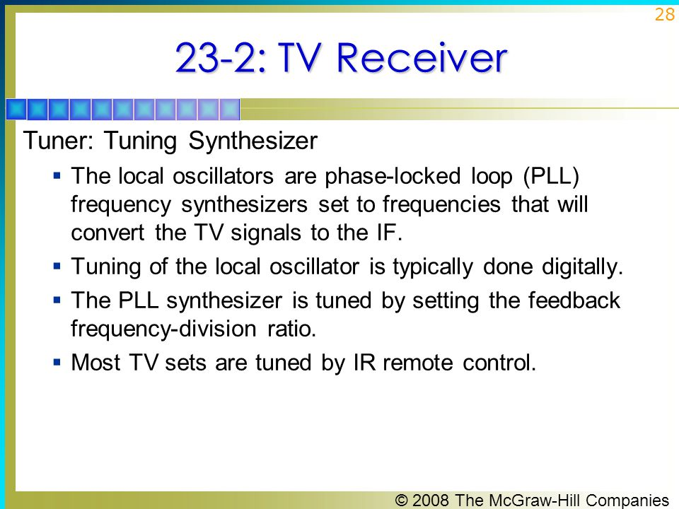 23-2: TV Receiver Tuner: Tuning Synthesizer
