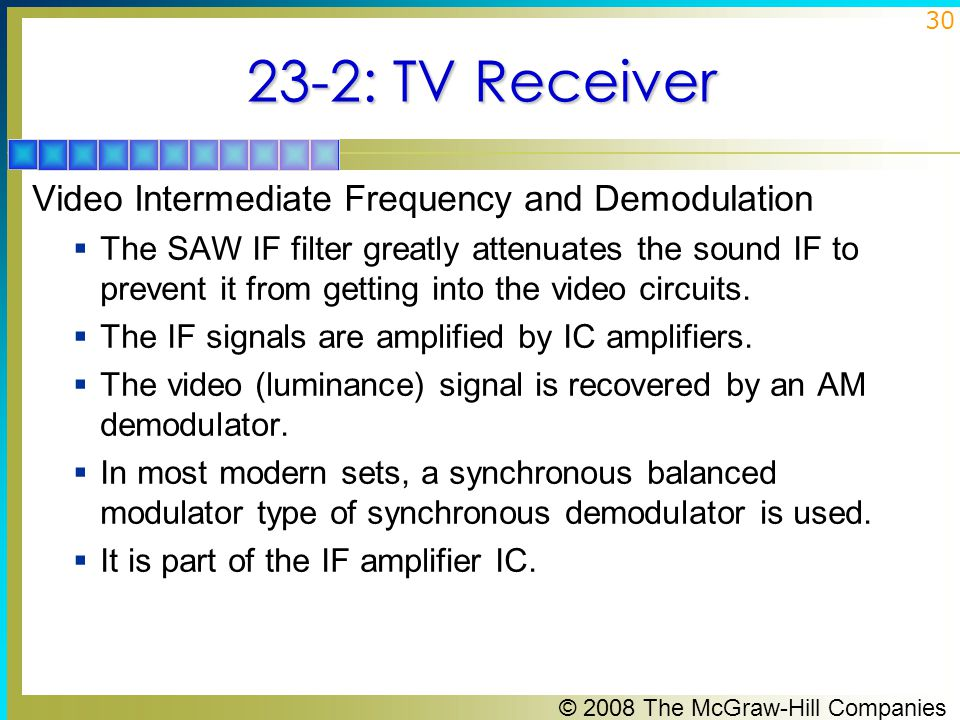 23-2: TV Receiver Video Intermediate Frequency and Demodulation