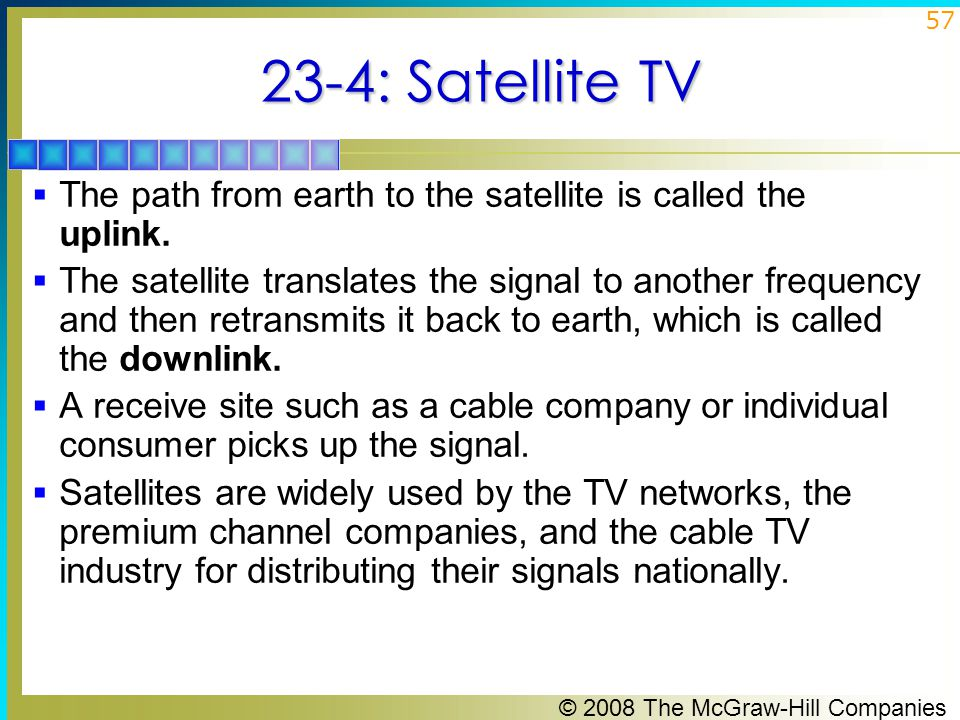 23-4: Satellite TV The path from earth to the satellite is called the uplink.