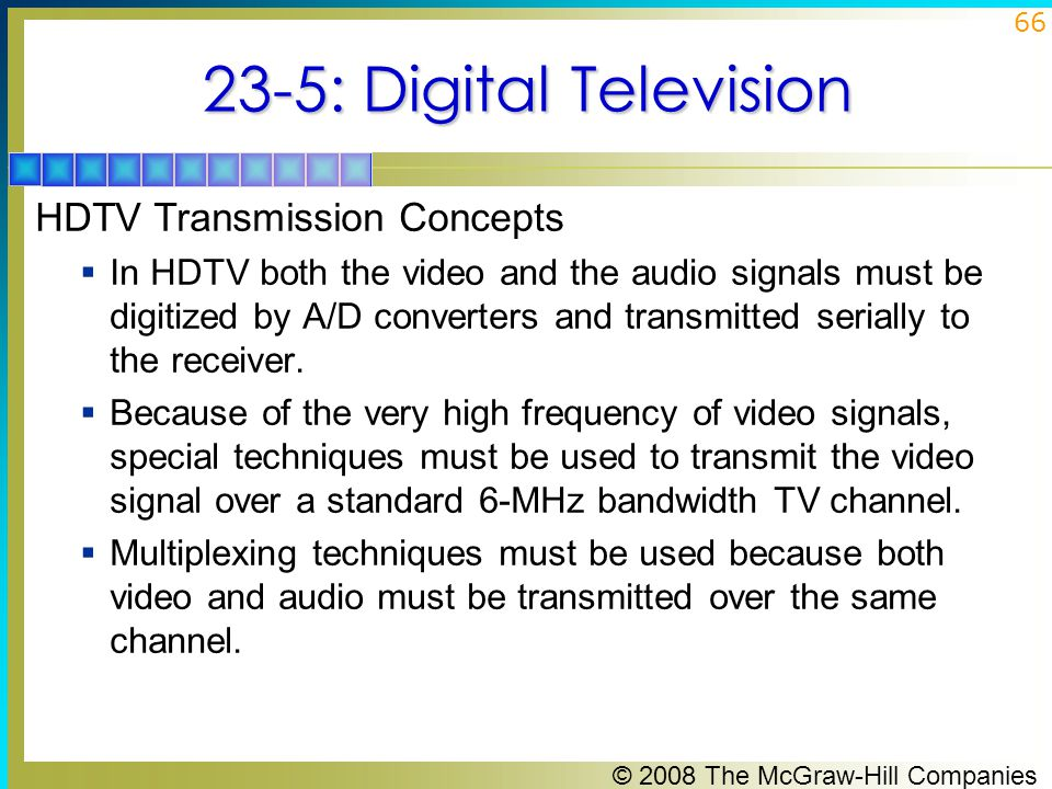 23-5: Digital Television HDTV Transmission Concepts