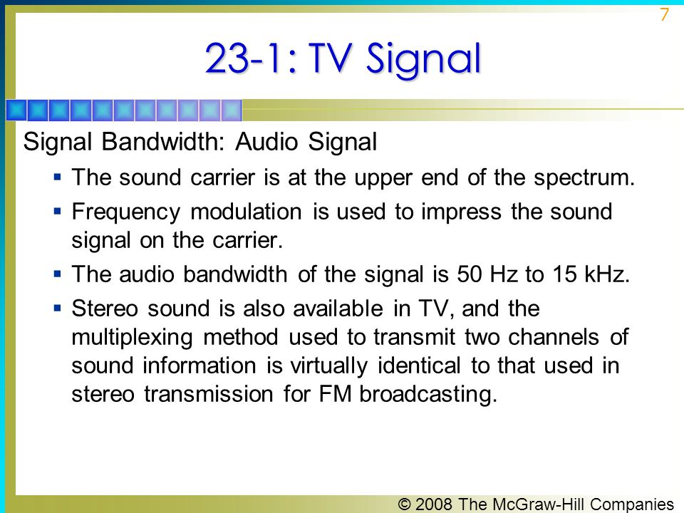 23-1: TV Signal Signal Bandwidth: Audio Signal