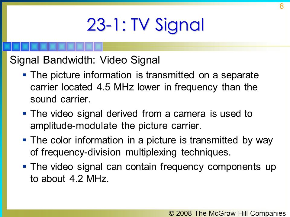 23-1: TV Signal Signal Bandwidth: Video Signal