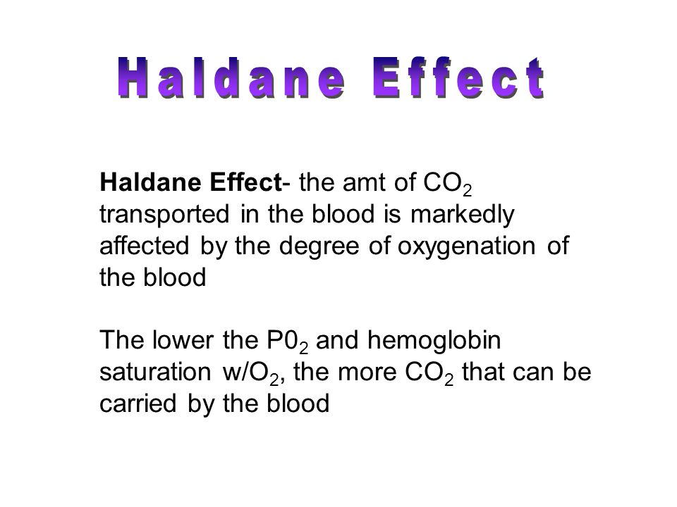 Haldane Effect Haldane Effect- the amt of CO2 transported in the blood is markedly affected by the degree of oxygenation of the blood.