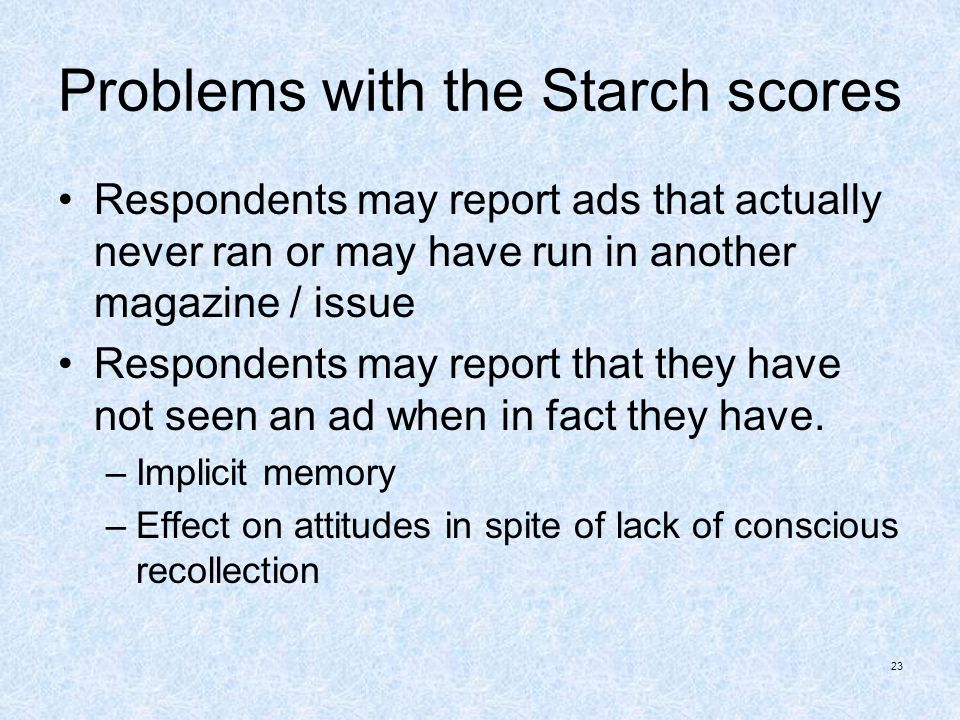 Problems with the Starch scores