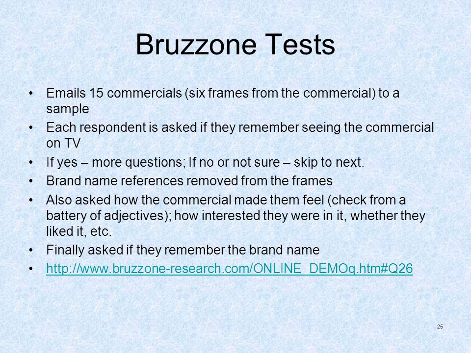 Bruzzone Tests Emails 15 commercials (six frames from the commercial) to a sample.