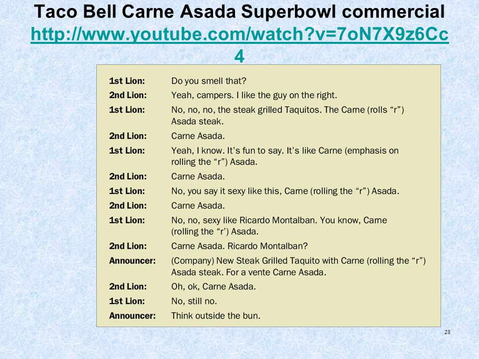 Taco Bell Carne Asada Superbowl commercial http://www. youtube