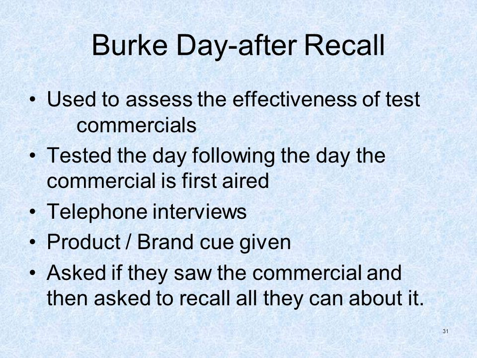 Burke Day-after Recall