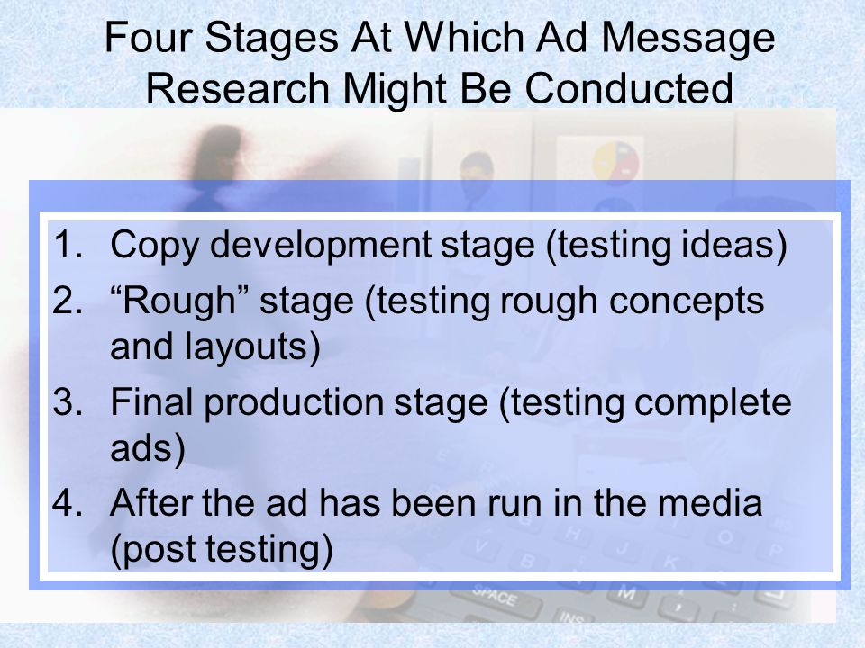 Four Stages At Which Ad Message Research Might Be Conducted