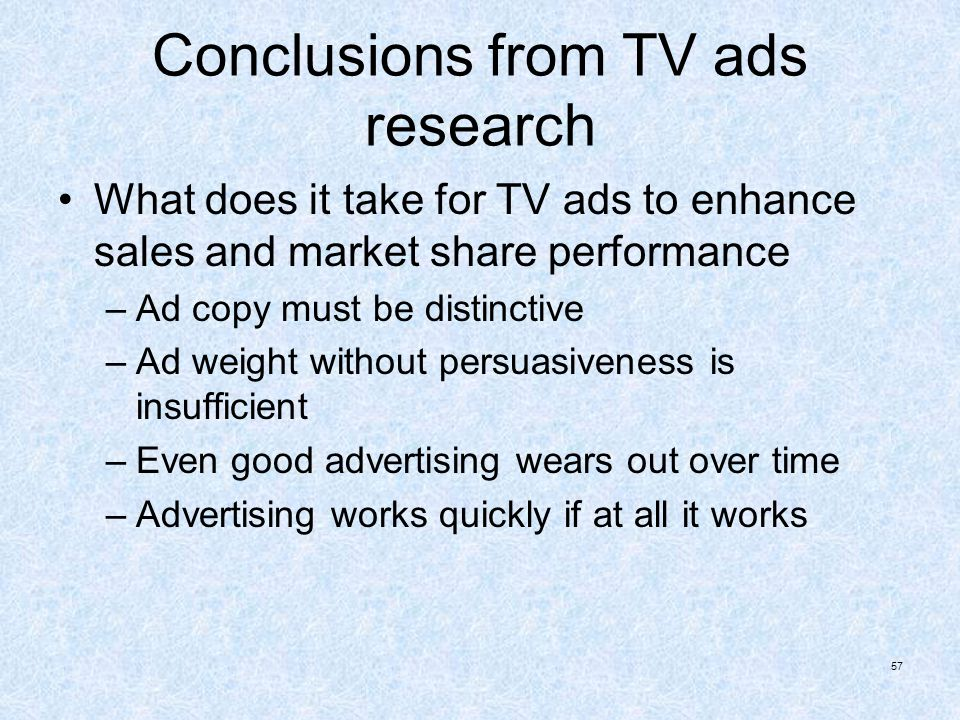 Conclusions from TV ads research
