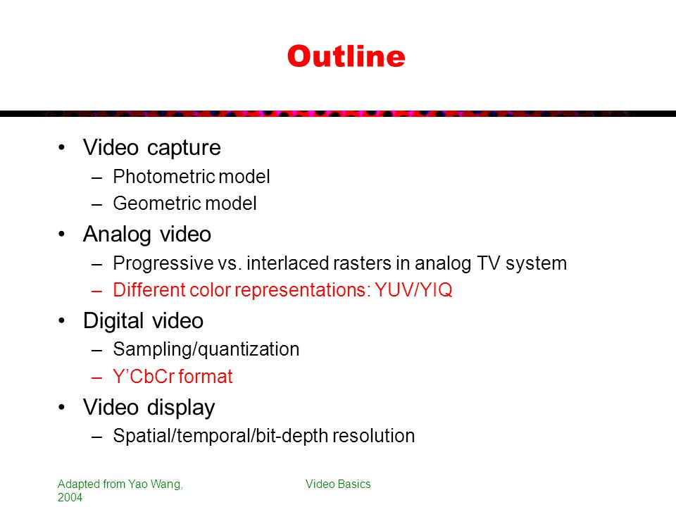 Outline Video capture Analog video Digital video Video display