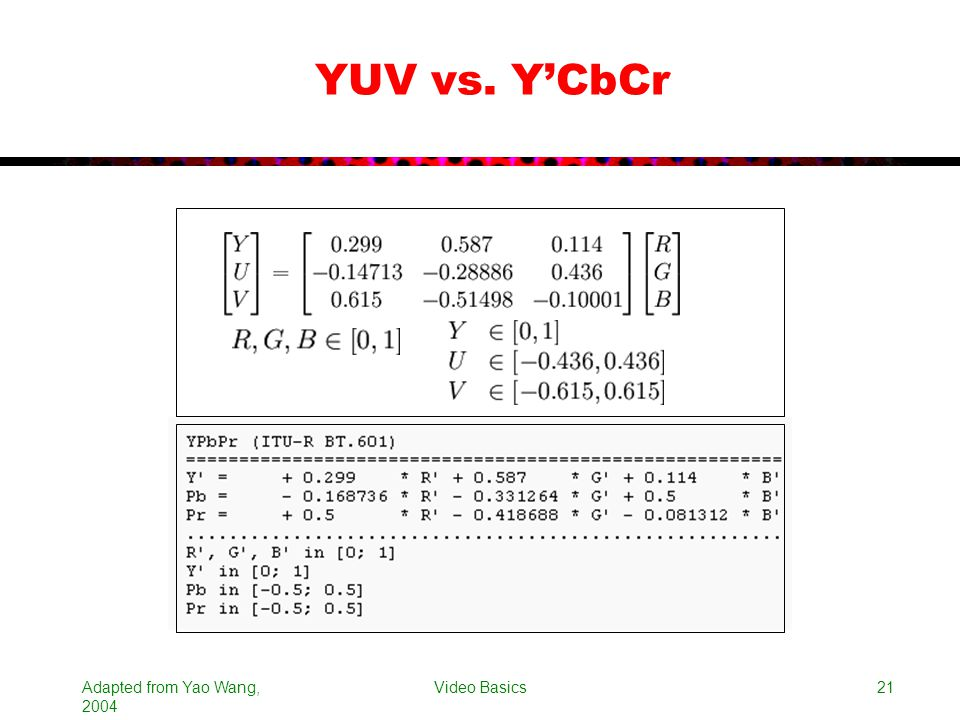 YUV vs. Y'CbCr Adapted from Yao Wang, 2004 Video Basics