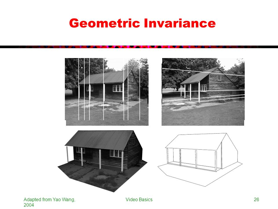 Geometric Invariance Adapted from Yao Wang, 2004 Video Basics