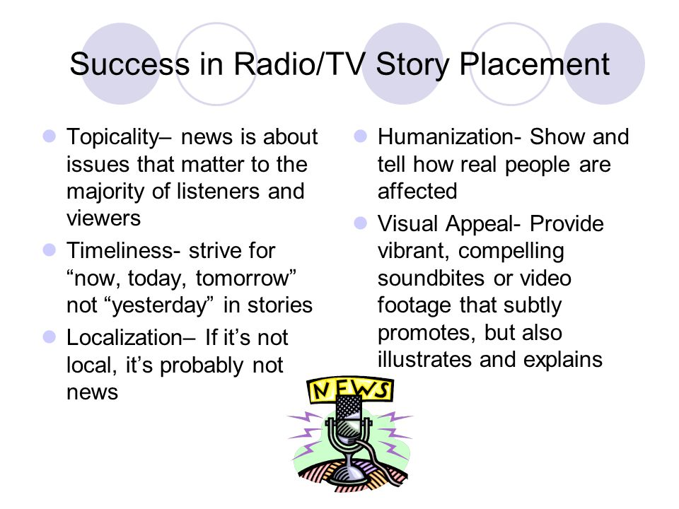 Success in Radio/TV Story Placement