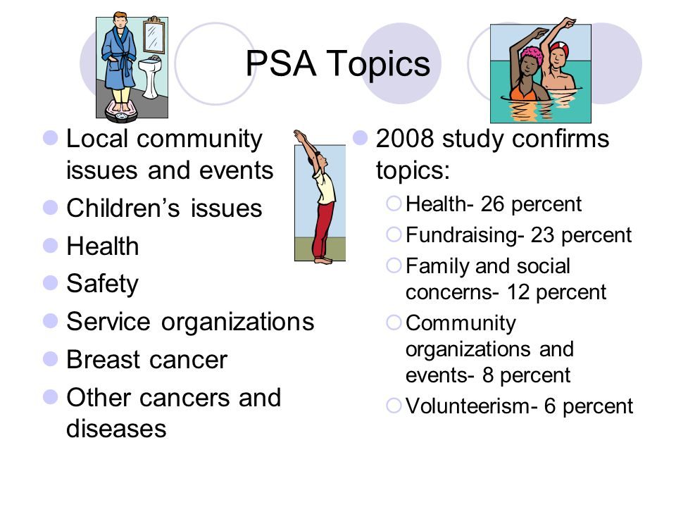 PSA Topics Local community issues and events Children's issues Health